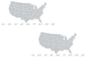 Silver adventure motorcycle outpost the pixel hut gs000040b adventure motorcycle decal kit usa adventure map for touratech panniers silver usa map design in metallic silver adventure gumiabroncs Gallery