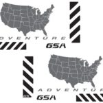 "The Pixel Hut gs00030b BMW GSA Adventure Motorcycle Decal Kit ""USA Adventure Map"" for Touratech Panniers – Black Reflective / Grey"
