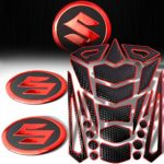 24pcs Chrome Red Fuel Tank Pad + 2pcs 2-1/16″ Matte Black & Red Suzuki Logo Emblem Decal Sticker